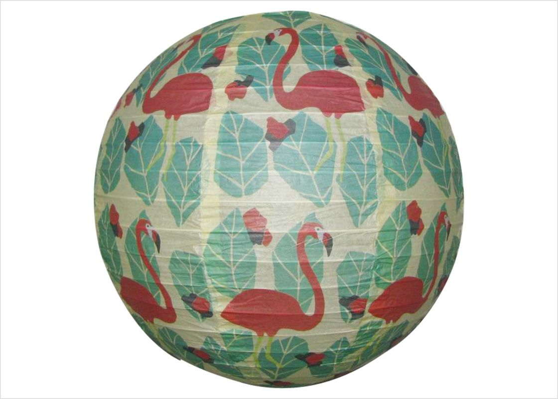 Flamingo Round Paper Lanterns 12 Inch , Hanging Paper Lanterns For Weddings
