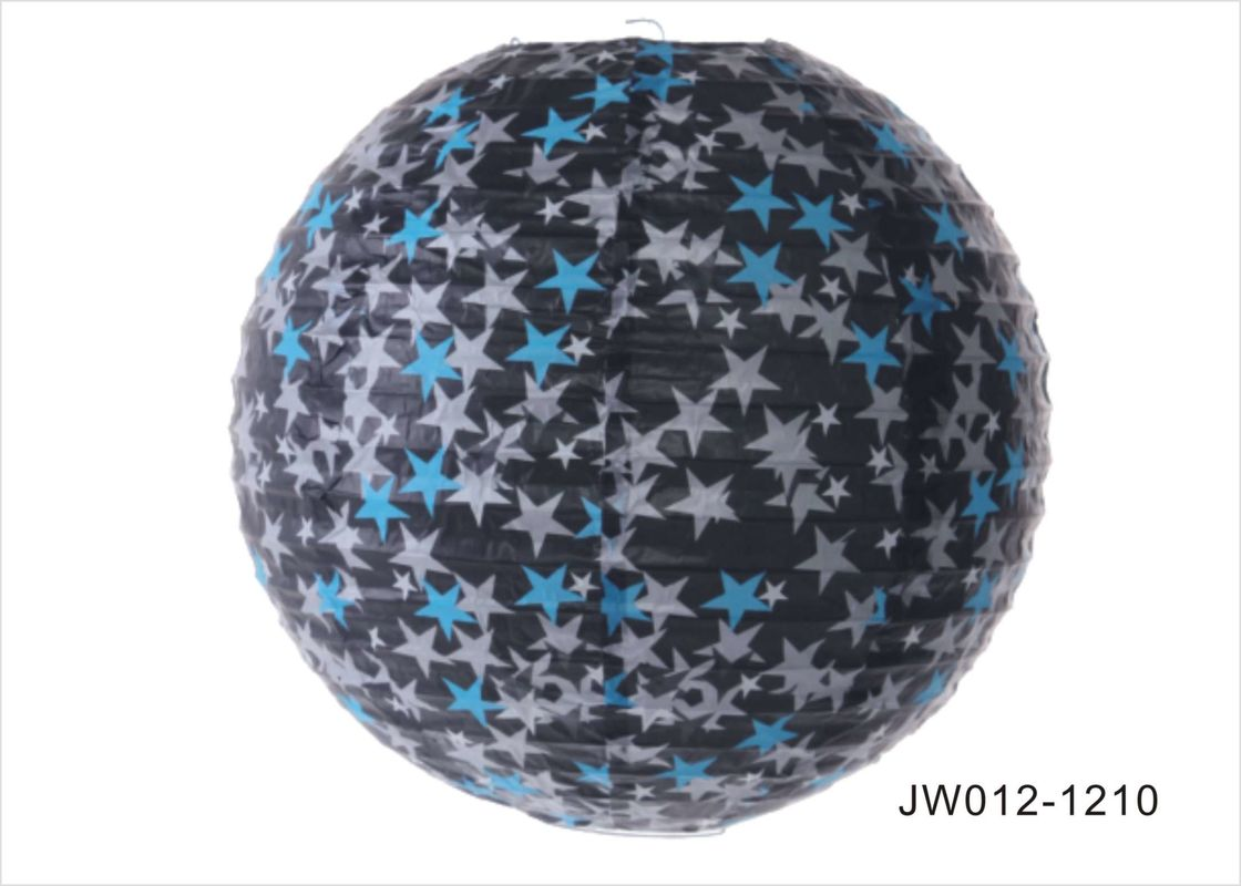 Black Star Round Paper Lanterns , Indoor Paper Lanterns 14 Inch 16 Inch