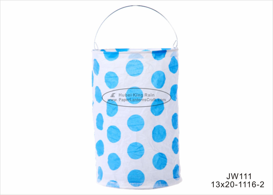 Polka Dots Drop Cylinder Shaped Paper Lanterns , 13 X 20cm Indoor Paper Lanterns