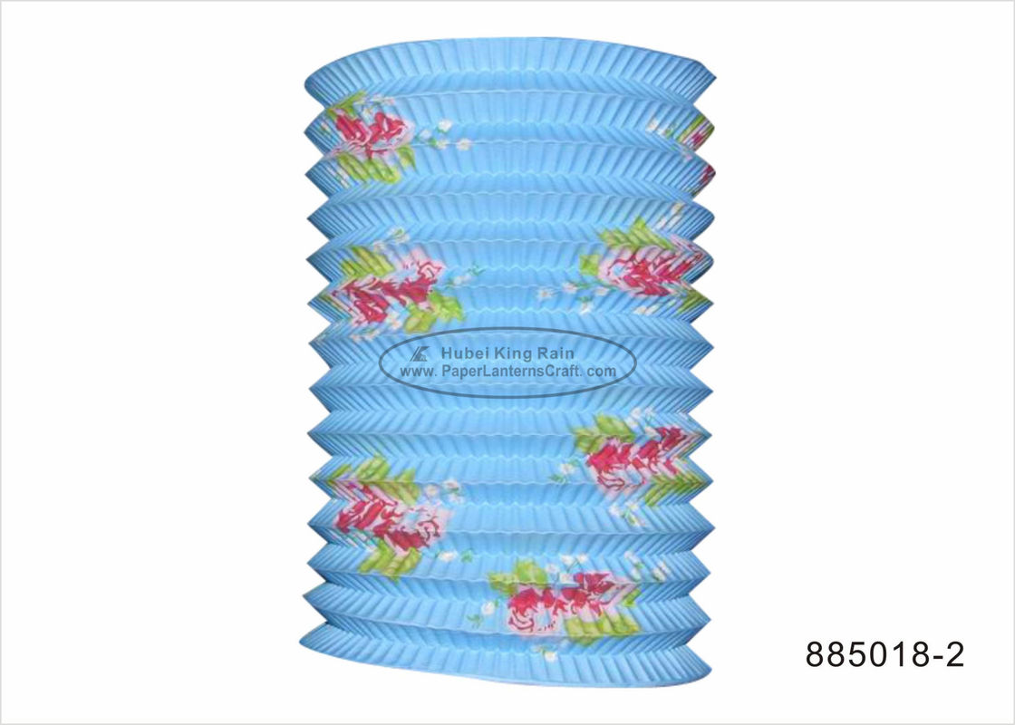 Foldable Pastel Coloured Paper Lanterns Craft 15 Cm With Flower Pattern