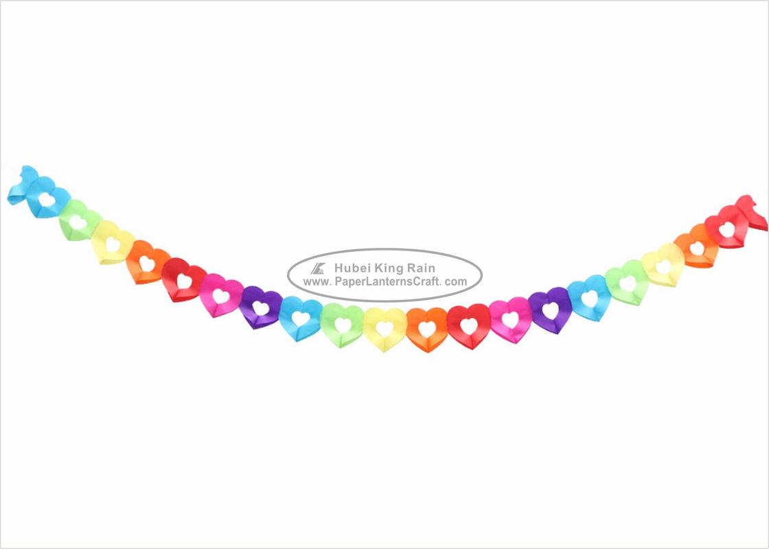 Heart Shaped Hanging Paper Garland Craft 4m No Pattern For Cultural Center