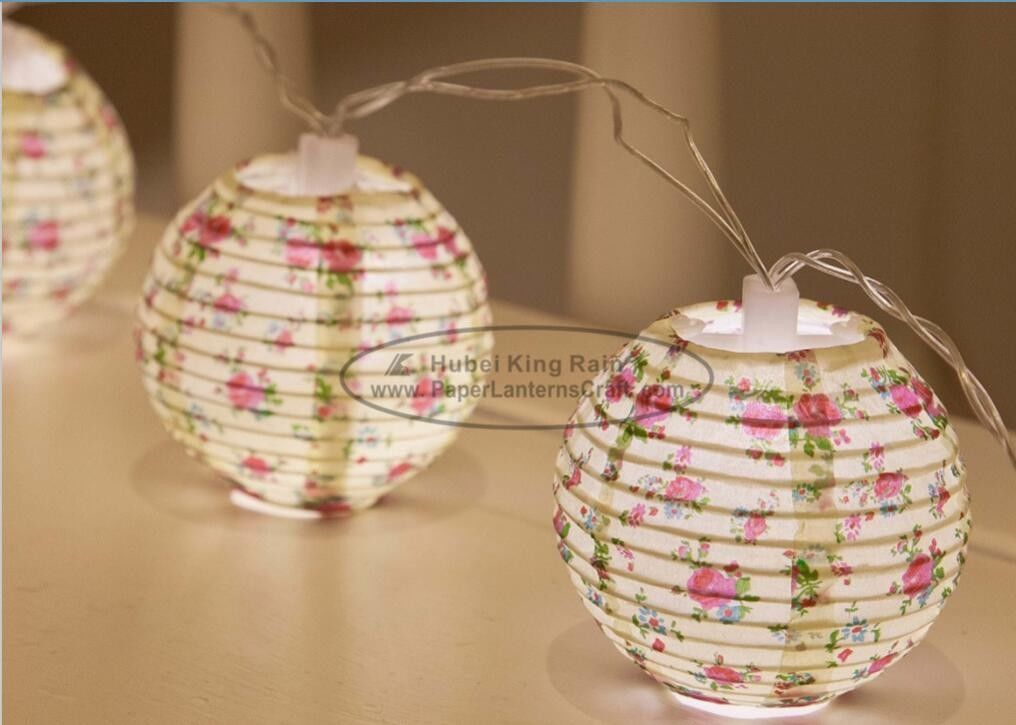 Flower Battery Operated Paper Lantern String Lights 7.5 Cm Energy Saving Led Party Decor