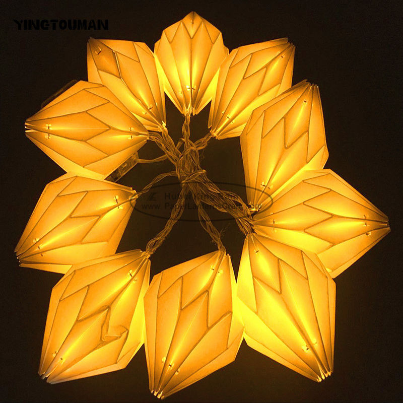 Origami White Paper lantern String Lights 15cm window Party Decoration