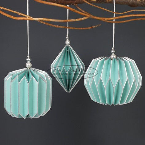 Light blue Origami Paper Lantern Ball , origami paper lampshade 47 X 27CM