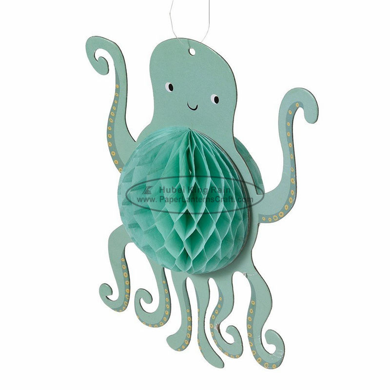 Fish octopus Printed Kids Paper Lanterns 30cm green honeycomb hanging room decoration
