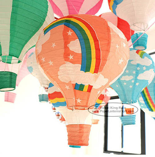 14 Inch 16 Inch Rainbow Hot Air Balloon Paper Lantern For Party Lamp